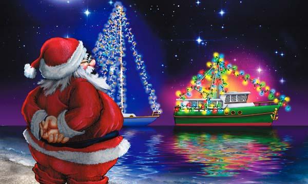 Un Père Noël qui apporte des cadeaux aux poissons !